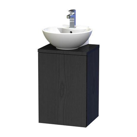 Miller - New York 40 Wall Hung Single Door Vanity Unit with Worktop & Ceramic Basin - Black