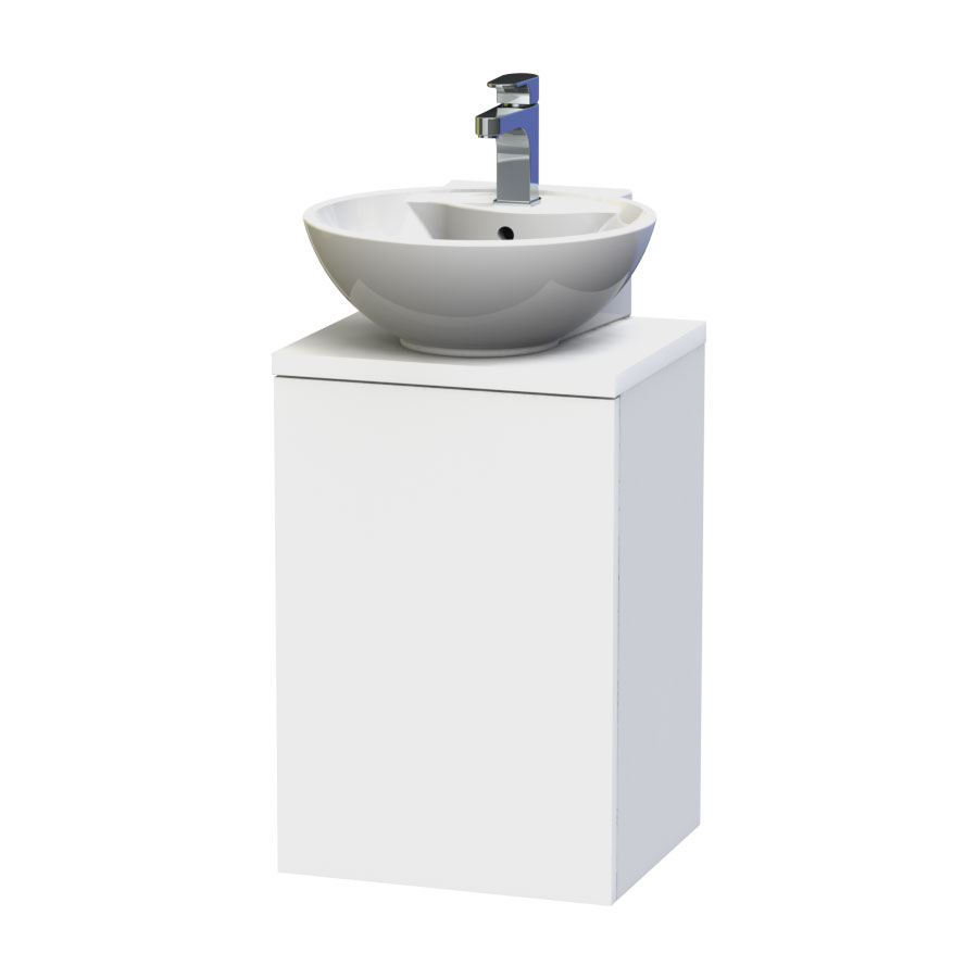 Miller - New York 40 Wall Hung Single Door Vanity Unit with Worktop & Ceramic Basin - White Large Image