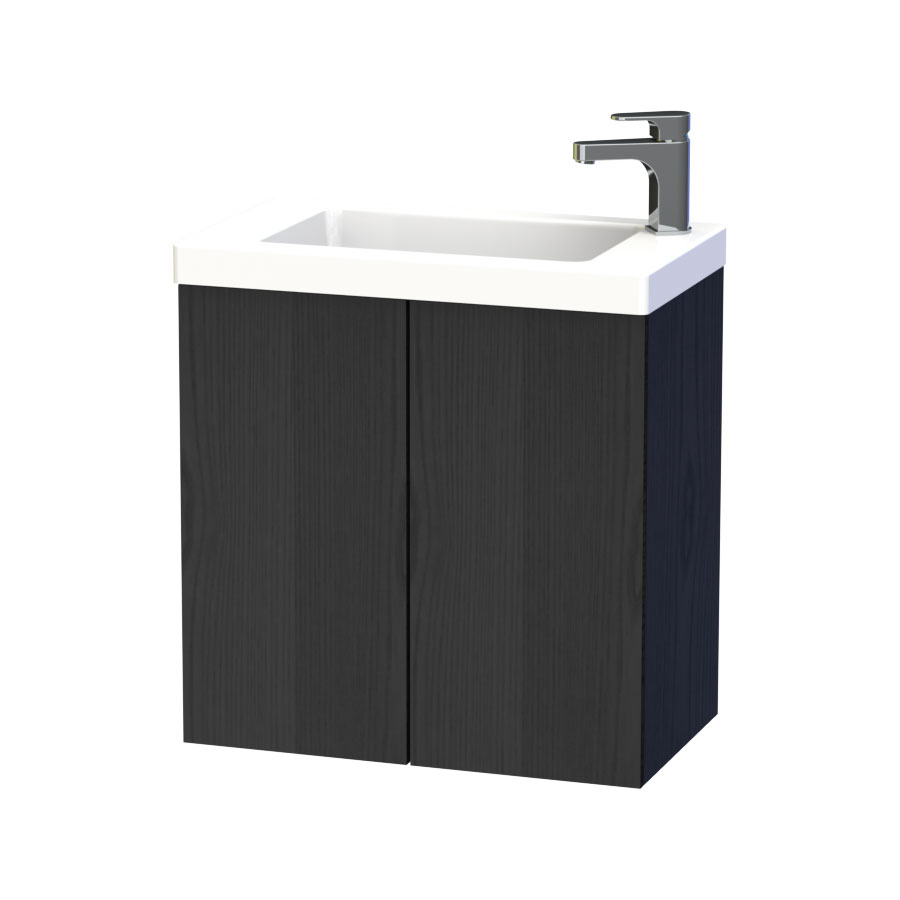 Miller - New York 60 Wall Hung Two Door Vanity Unit with Ceramic Basin - Black Large Image