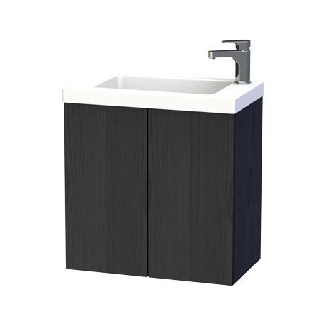 Miller - New York 60 Wall Hung Two Door Vanity Unit with Ceramic Basin - Black
