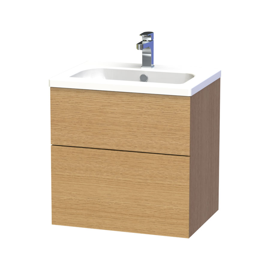 Miller - New York 60 Wall Hung Two Drawer Vanity Unit with Ceramic Basin - Oak Large Image