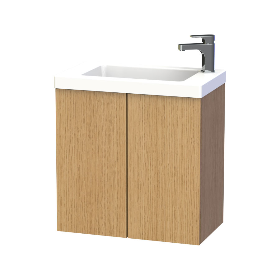 Miller - New York 60 Wall Hung Two Door Vanity Unit with Ceramic Basin - Oak Large Image
