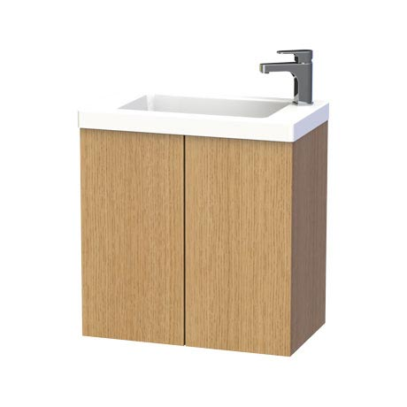 Miller - New York 60 Wall Hung Two Door Vanity Unit with Ceramic Basin - Oak