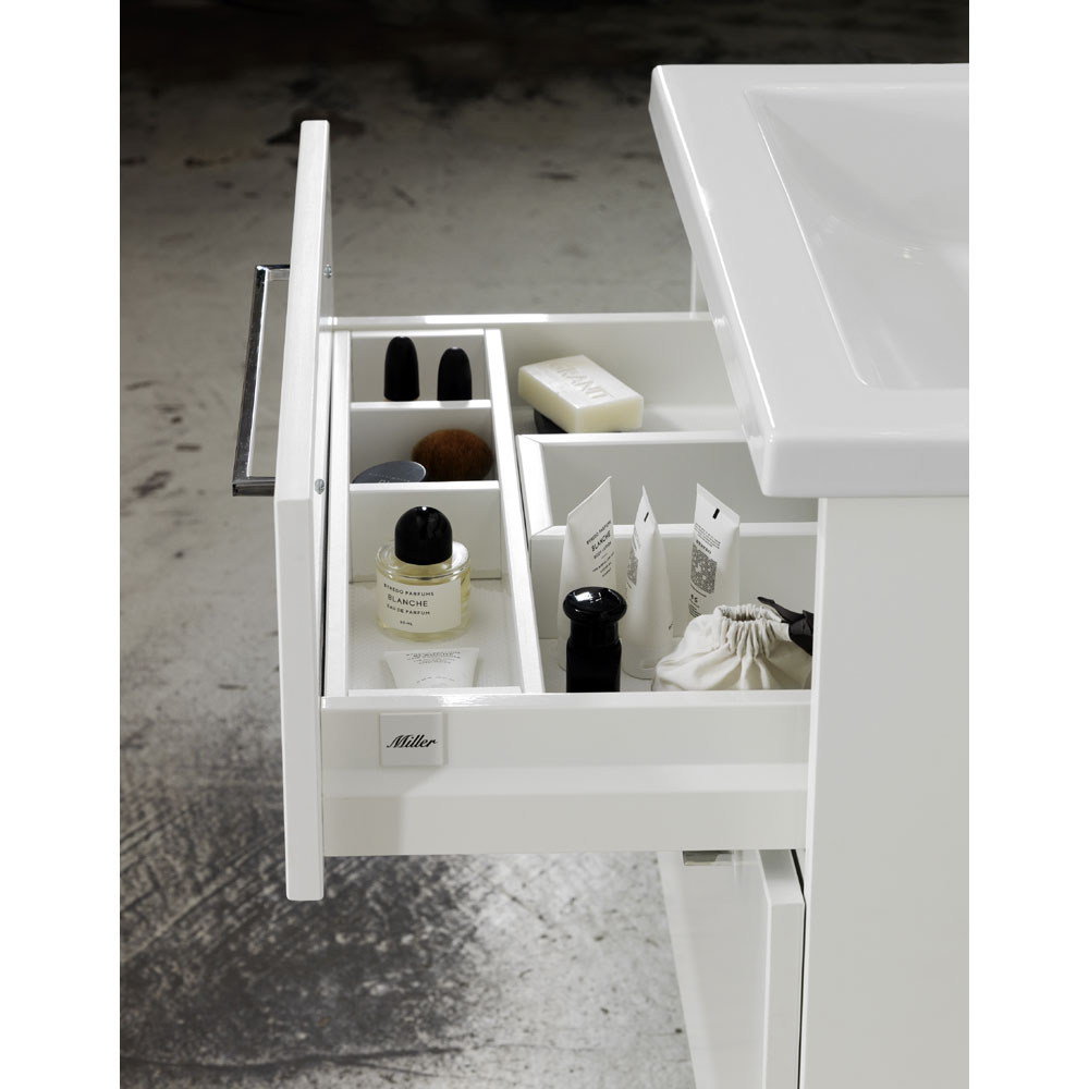 Miller - New York 60 Wall Hung Two Drawer Vanity Unit with Ceramic Basin - White profile large image view 5