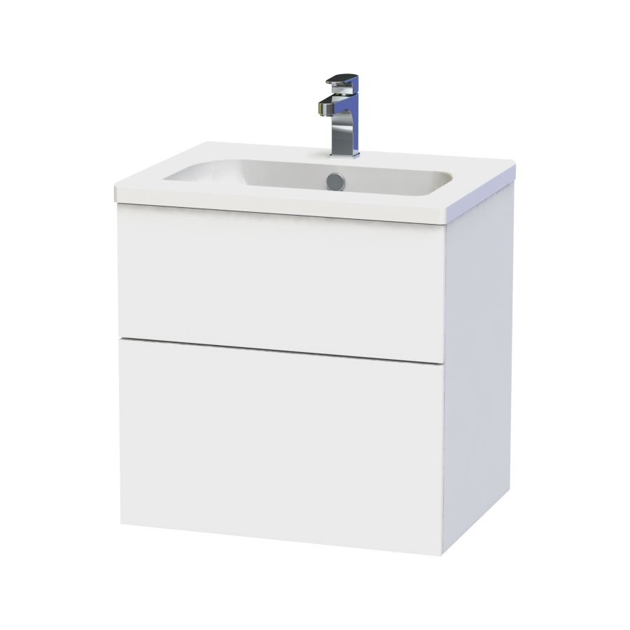 Miller - New York 60 Wall Hung Two Drawer Vanity Unit with Ceramic Basin - White Large Image