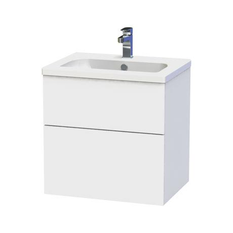 Miller - New York 60 Wall Hung Two Drawer Vanity Unit with Ceramic Basin - White