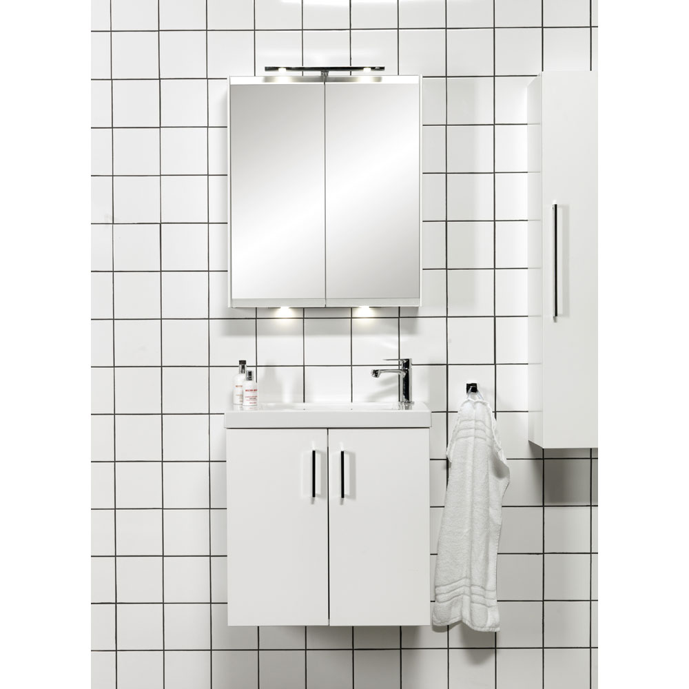 Miller - New York 60 Wall Hung Two Door Vanity Unit with Ceramic Basin - White Standard Large Image