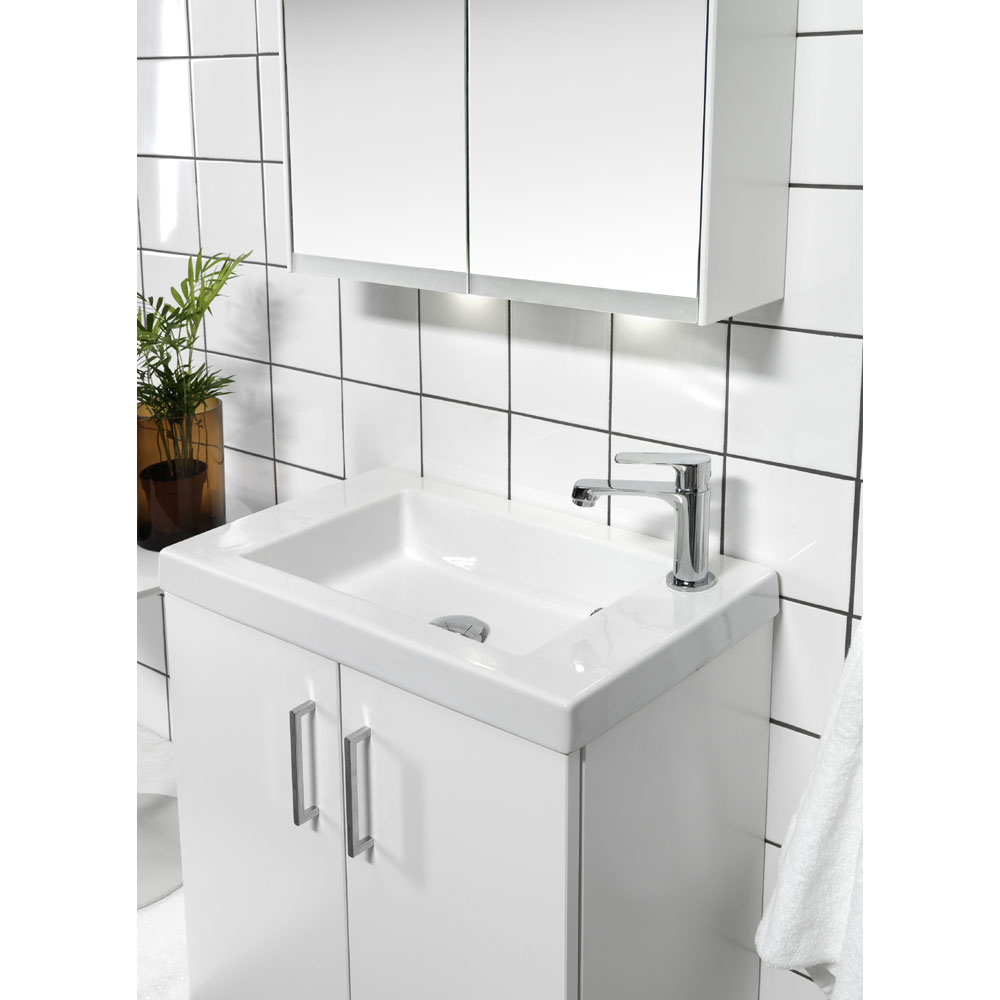 Miller - New York 60 Wall Hung Two Door Vanity Unit with Ceramic Basin - White In Bathroom Large Image
