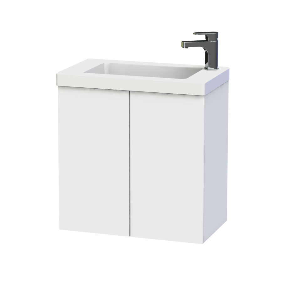 Miller - New York 60 Wall Hung Two Door Vanity Unit with Ceramic Basin - White Large Image