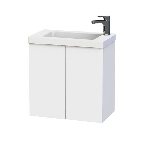 Miller - New York 60 Wall Hung Two Door Vanity Unit with Ceramic Basin - White
