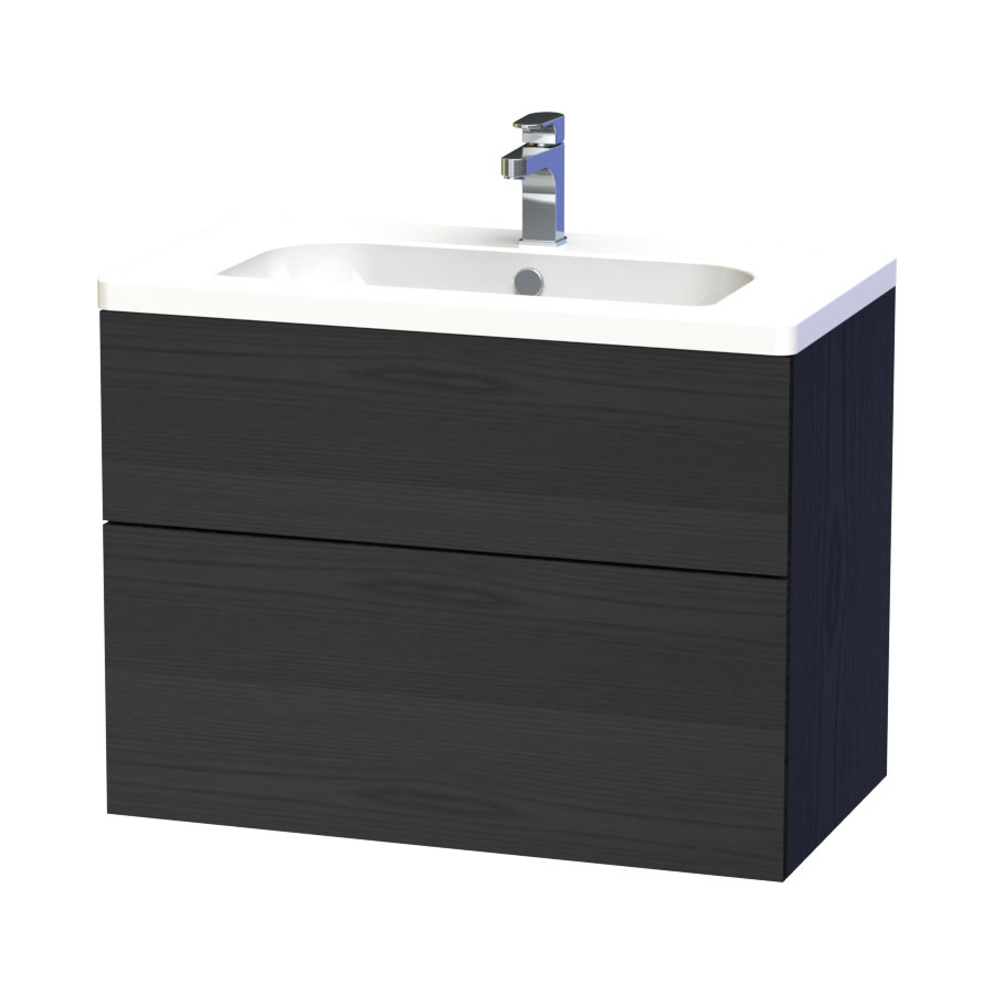 Miller - New York 80 Wall Hung Two Drawer Vanity Unit with Ceramic Basin - Black Large Image
