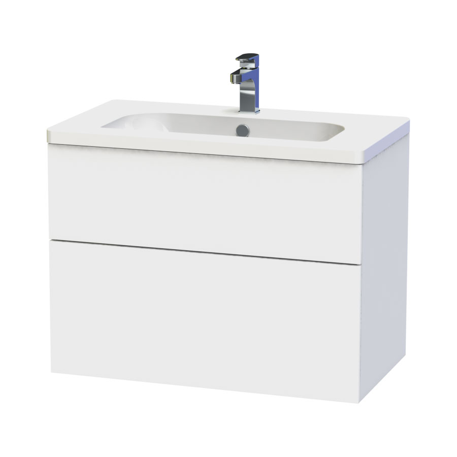 Miller - New York 80 Wall Hung Two Drawer Vanity Unit with Ceramic Basin - White Large Image