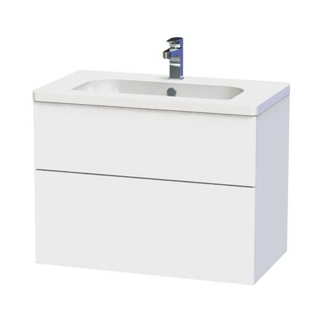 Miller - New York 80 Wall Hung Two Drawer Vanity Unit with Ceramic Basin - White