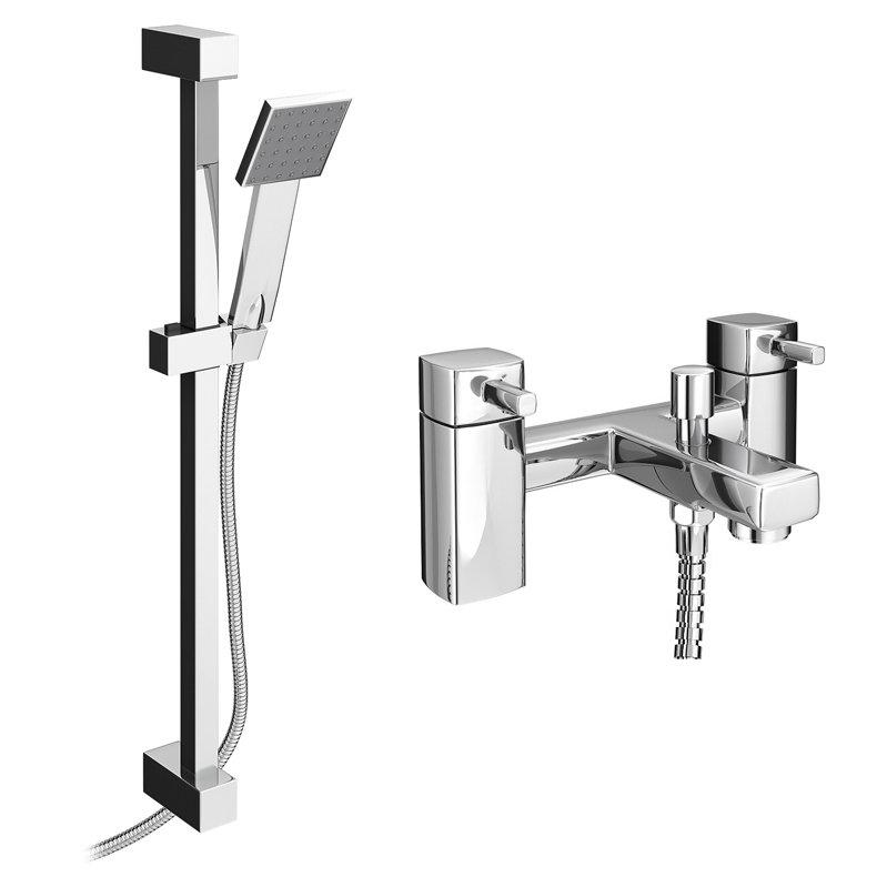 Neo Bath Shower Mixer with Slider Rail Kit - Chrome Large Image