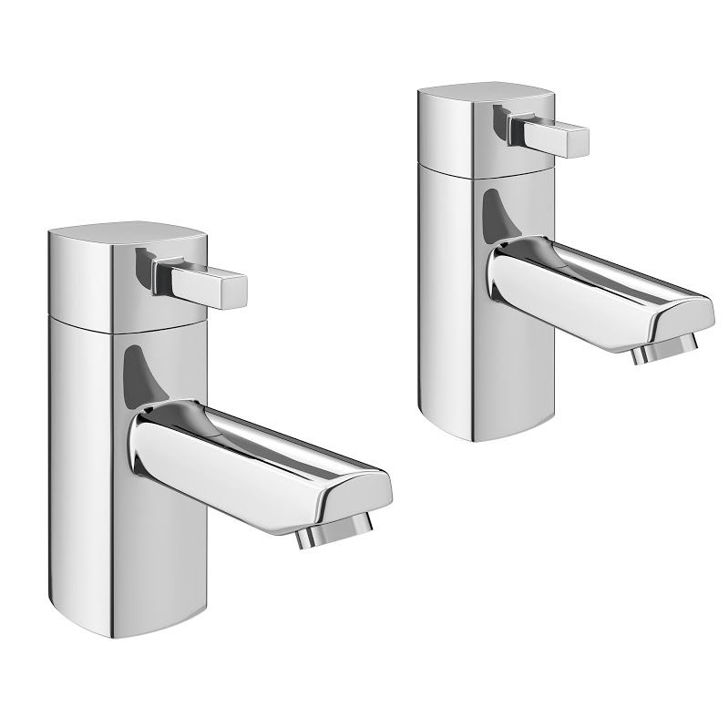 Neo Minimalist Basin Pillar Taps - Chrome