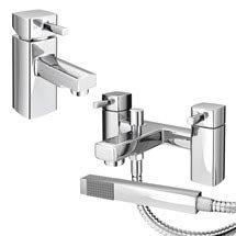 Neo Minimalist Basin and Bath Shower Mixer Taps - Chrome Medium Image