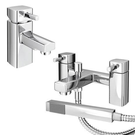 Neo Minimalist Basin and Bath Shower Mixer Taps - Chrome