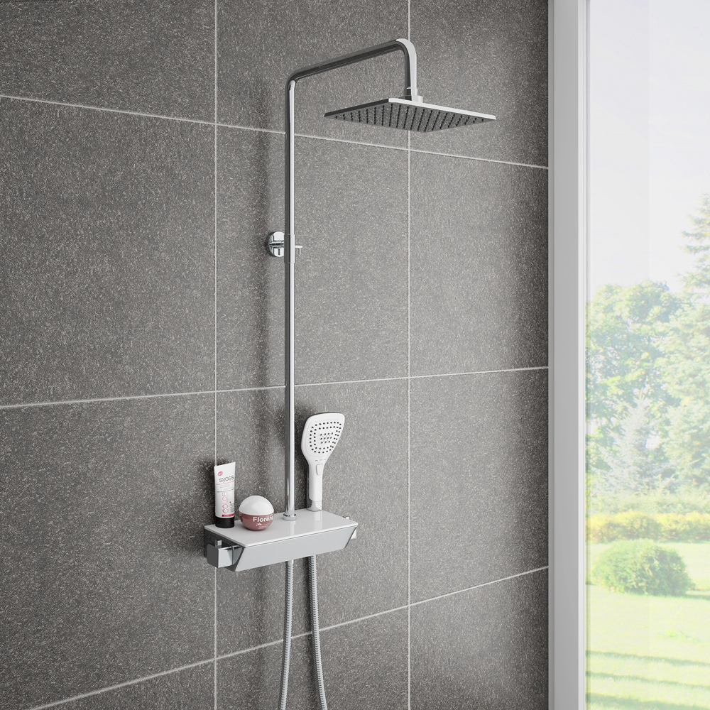 Neo Modern Thermostatic Shower With Shelf Victorian