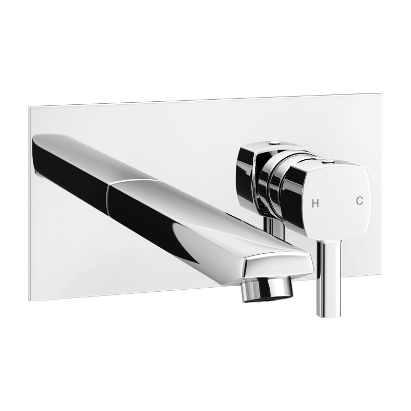 Neo Modern Wall Mounted Bath/Basin Filler - Chrome Large Image
