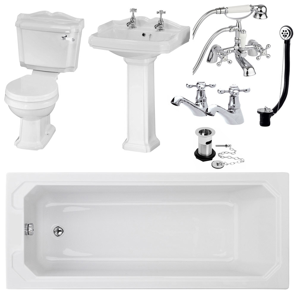 Oxford Complete Traditional Bathroom Package (1700 x 700mm) Large Image