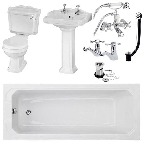 Oxford Complete Traditional Bathroom Package (1700 x 700mm)
