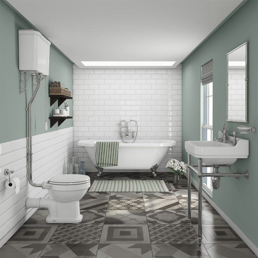 Bathroom Ideas: Newbury Traditional Back-to-Wall Roll Top Bath Suite At
