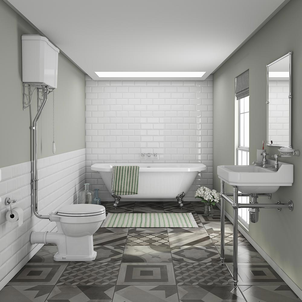 Newbury Traditional Back-to-Wall Roll Top Bath Suite Large Image