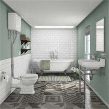 Newbury Traditional Back-to-Wall Roll Top Bath Suite Medium Image