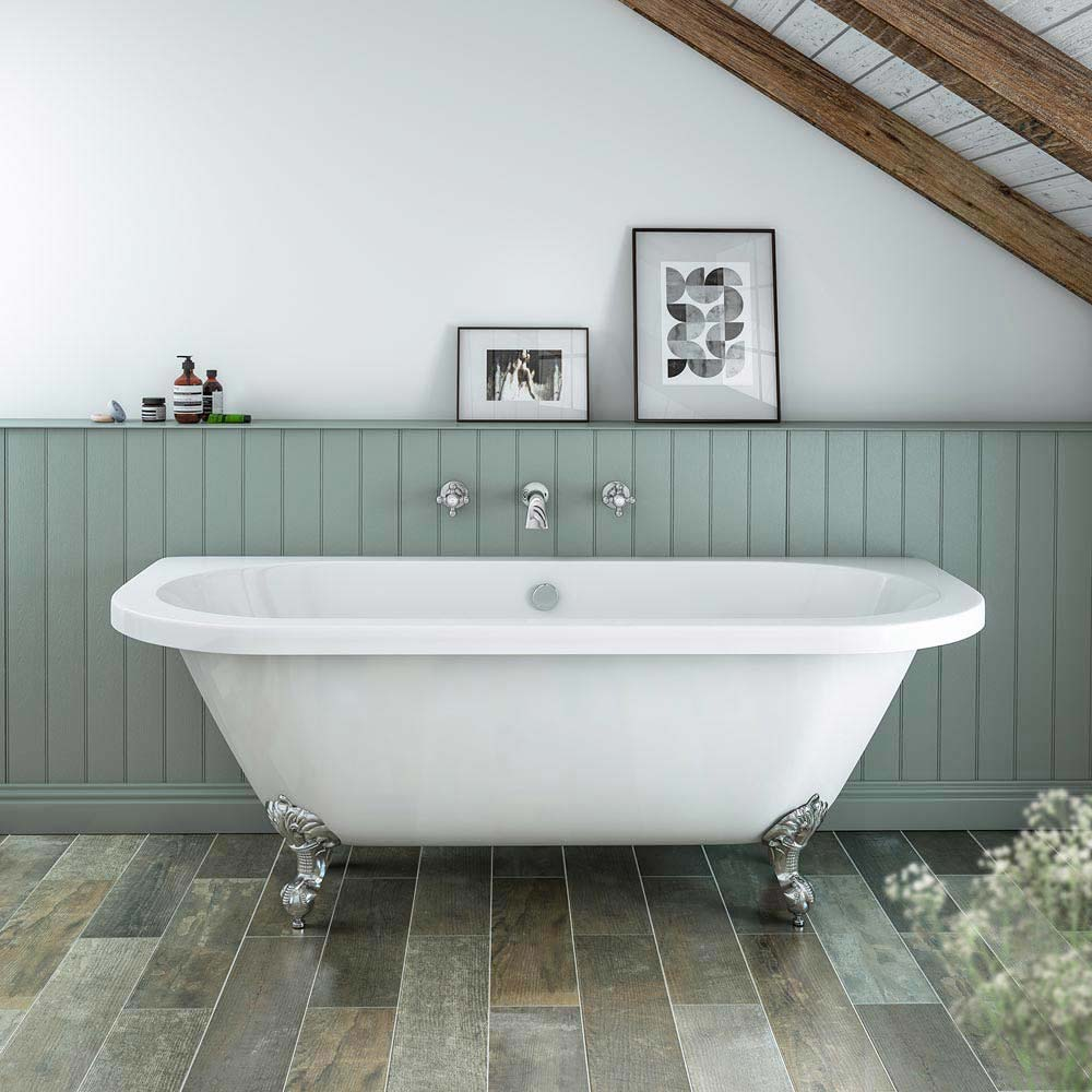 Newbury Traditional Back-to-Wall Roll Top Bath Suite  In Bathroom Large Image
