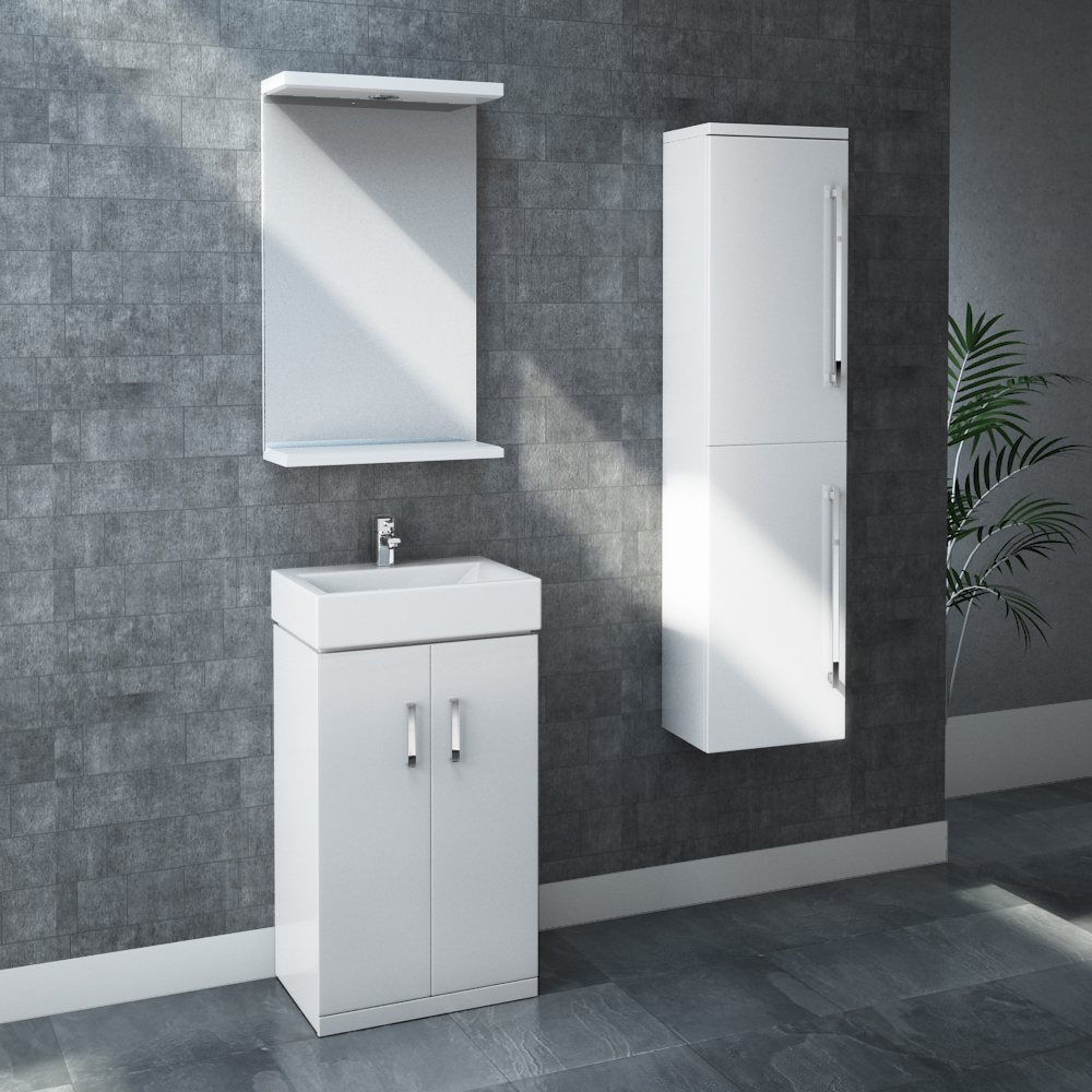 Nova High Gloss White Wall Mounted Tall Side Cabinet W350 x D250mm - VTY070 profile large image view 2