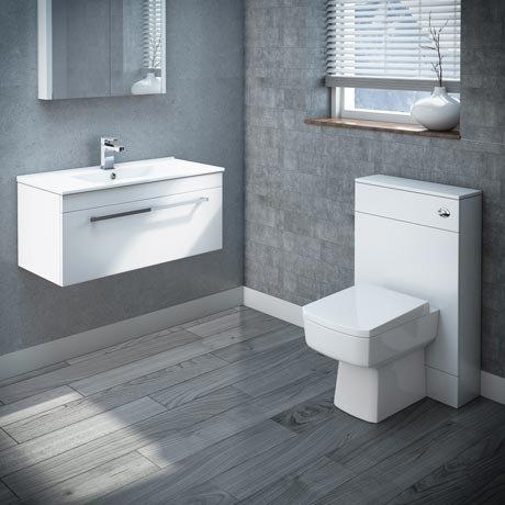 Nova 800mm Wall Hung Vanity Basin with WC Unit, Cistern & Pan