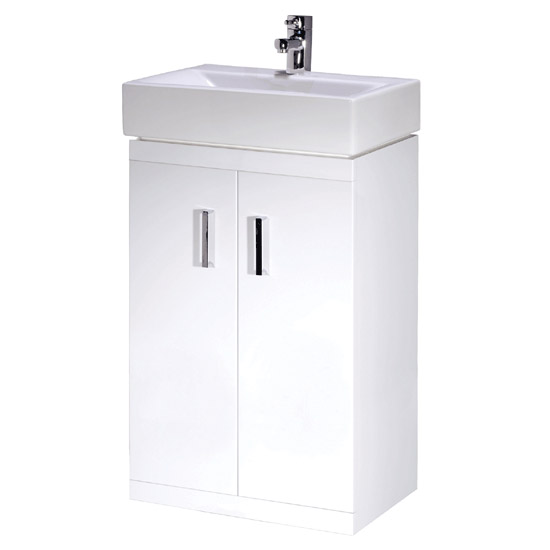 Nova Small Cloakroom Suite - Gloss White Feature Large Image