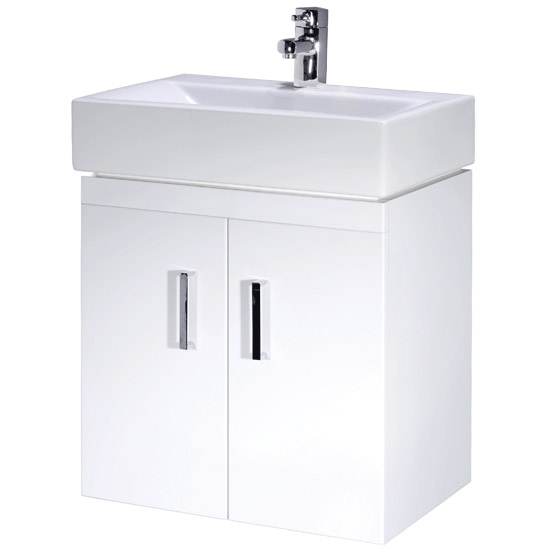 Nova Cloakroom Suite - Wall Hung Basin Unit + Close Coupled Toilet profile large image view 3