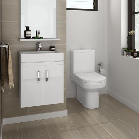 Nova Cloakroom Suite - Wall Hung Basin Unit & Close Coupled Toilet