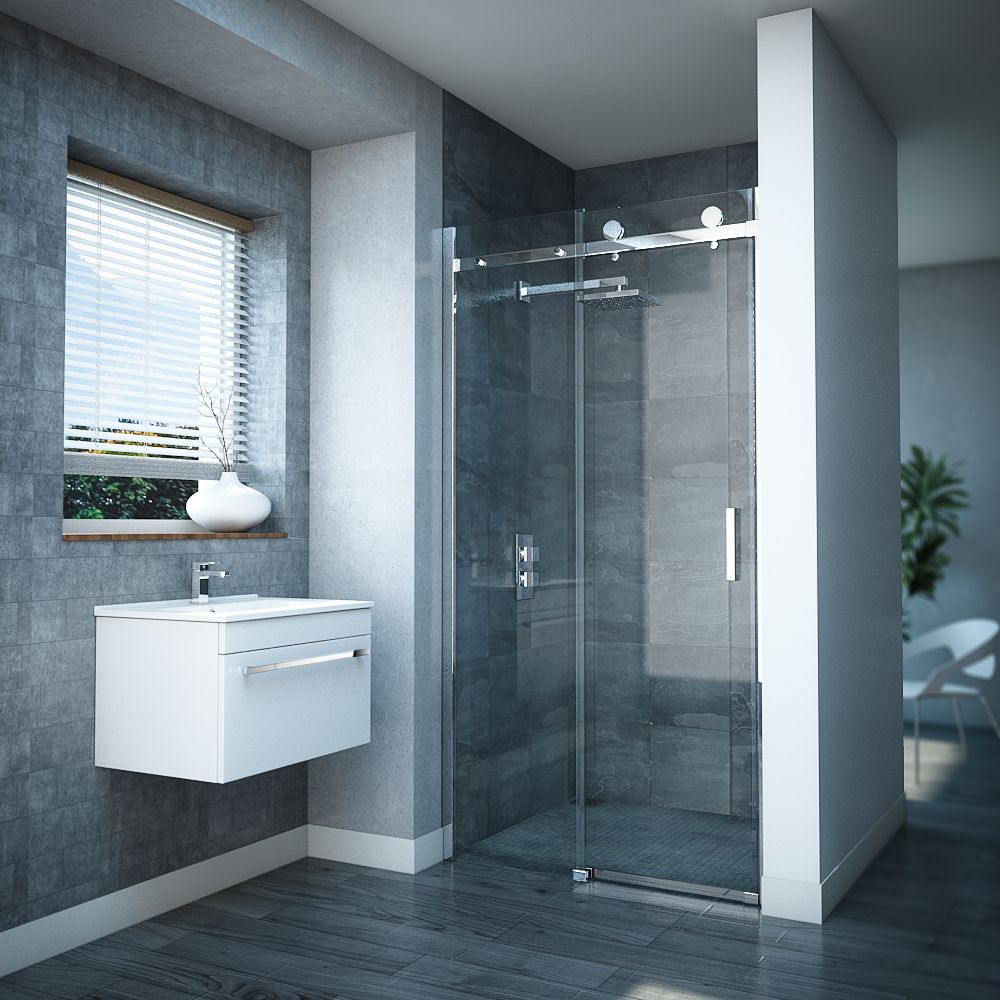 Nova frameless sliding shower door at victorian plumbing uk for Bathroom entrance doors