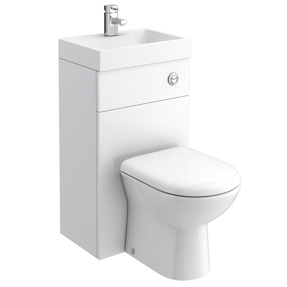 Nova Gloss White Combined Washbasin & WC | Victorian Plumbing.co.uk
