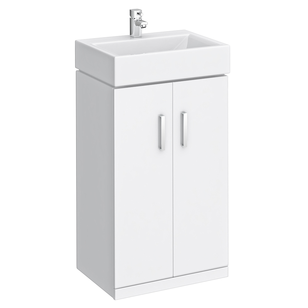 Attractive Nova Vanity Sink With Cabinet   450mm Modern High Gloss White Medium Image