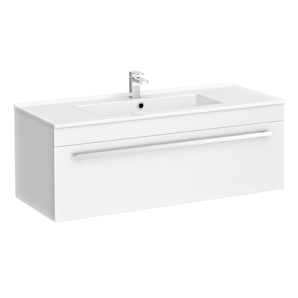 Nova Wall Hung Vanity Sink With Cabinet - 1000mm Modern High Gloss White Large Image