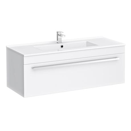 Nova Wall Hung Vanity Sink With Cabinet - 1000mm Modern High Gloss White