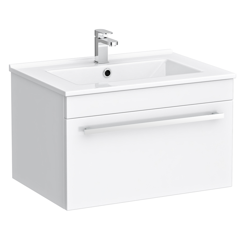 Nova Wall Hung Modern White High Gloss Vanity Sink With Cabinet