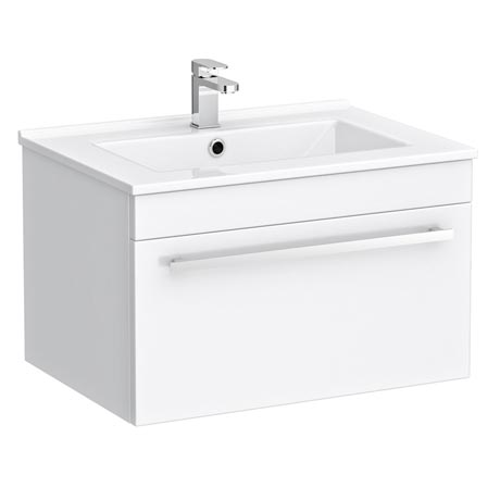 Nova Wall Hung Vanity Sink With Cabinet - 600mm Modern High Gloss White