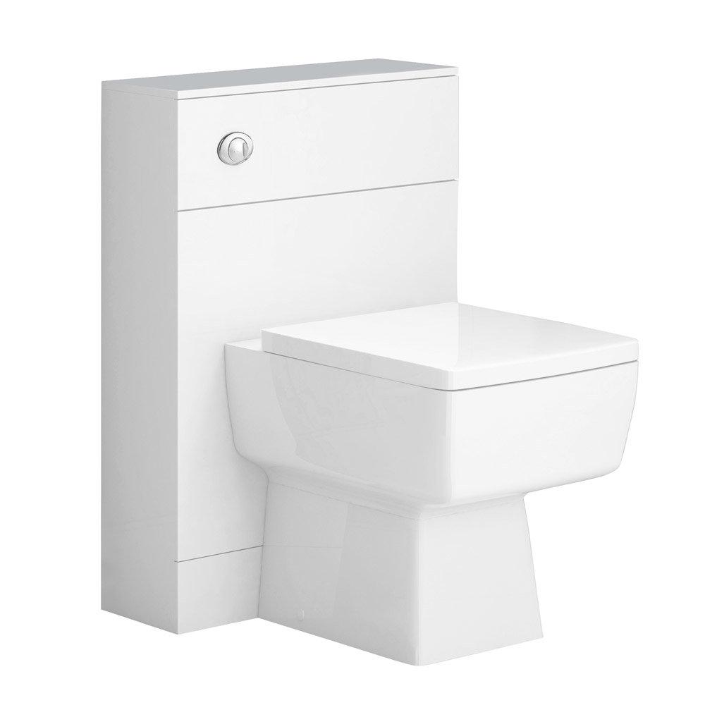 Nova High Gloss White BTW WC Unit Inc. Cistern + Square Pan W500 x D200mm Large Image