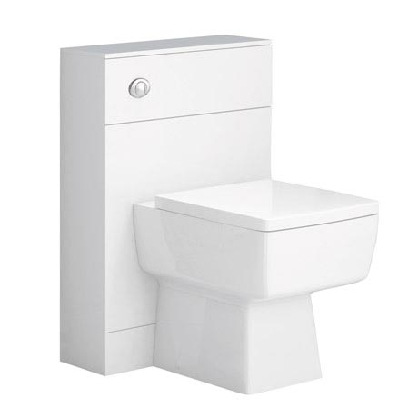 Nova High Gloss White BTW WC Unit Inc. Cistern + Square Pan W500 x D200mm