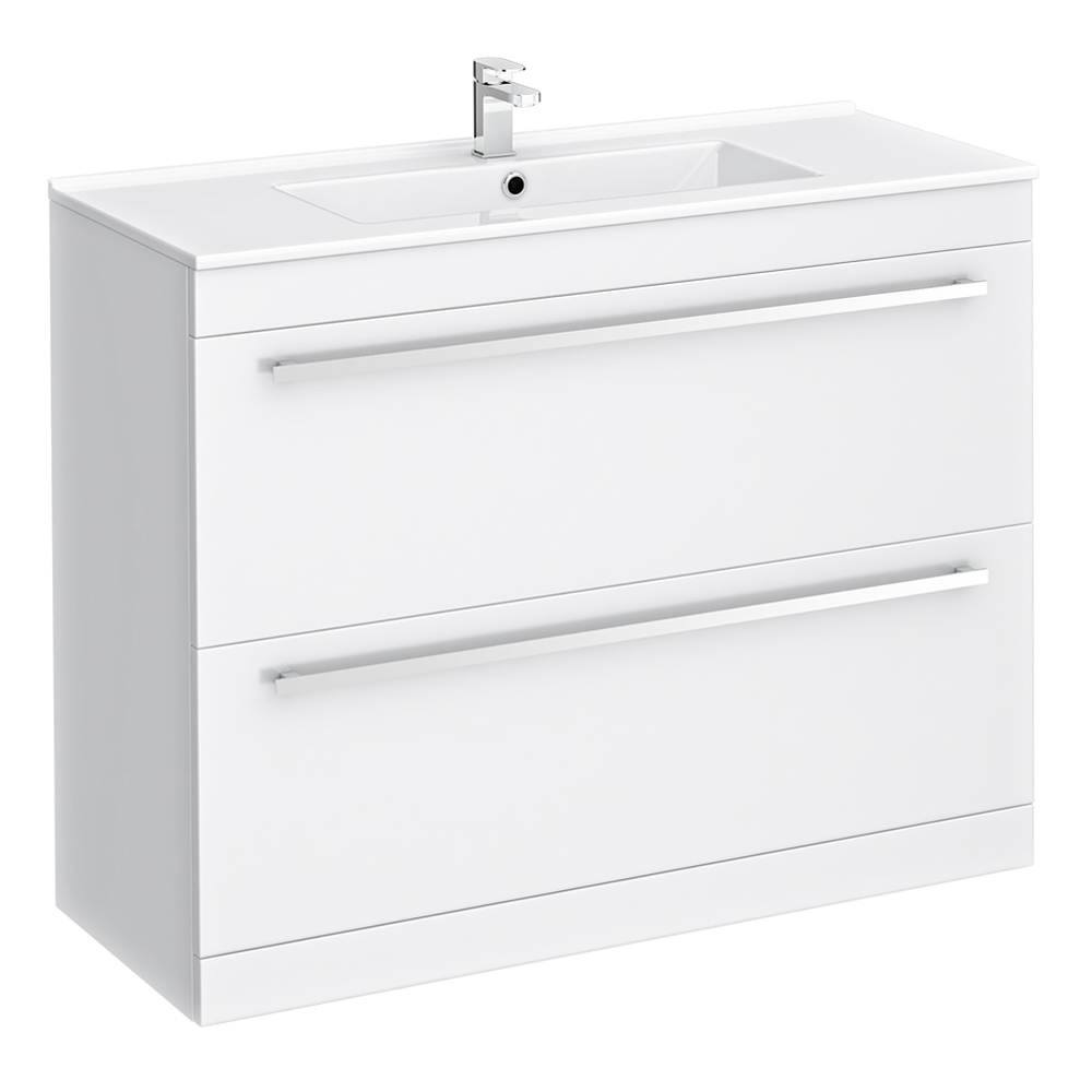 Nova Vanity Sink With Cabinet - 1000mm Modern High Gloss White Large Image