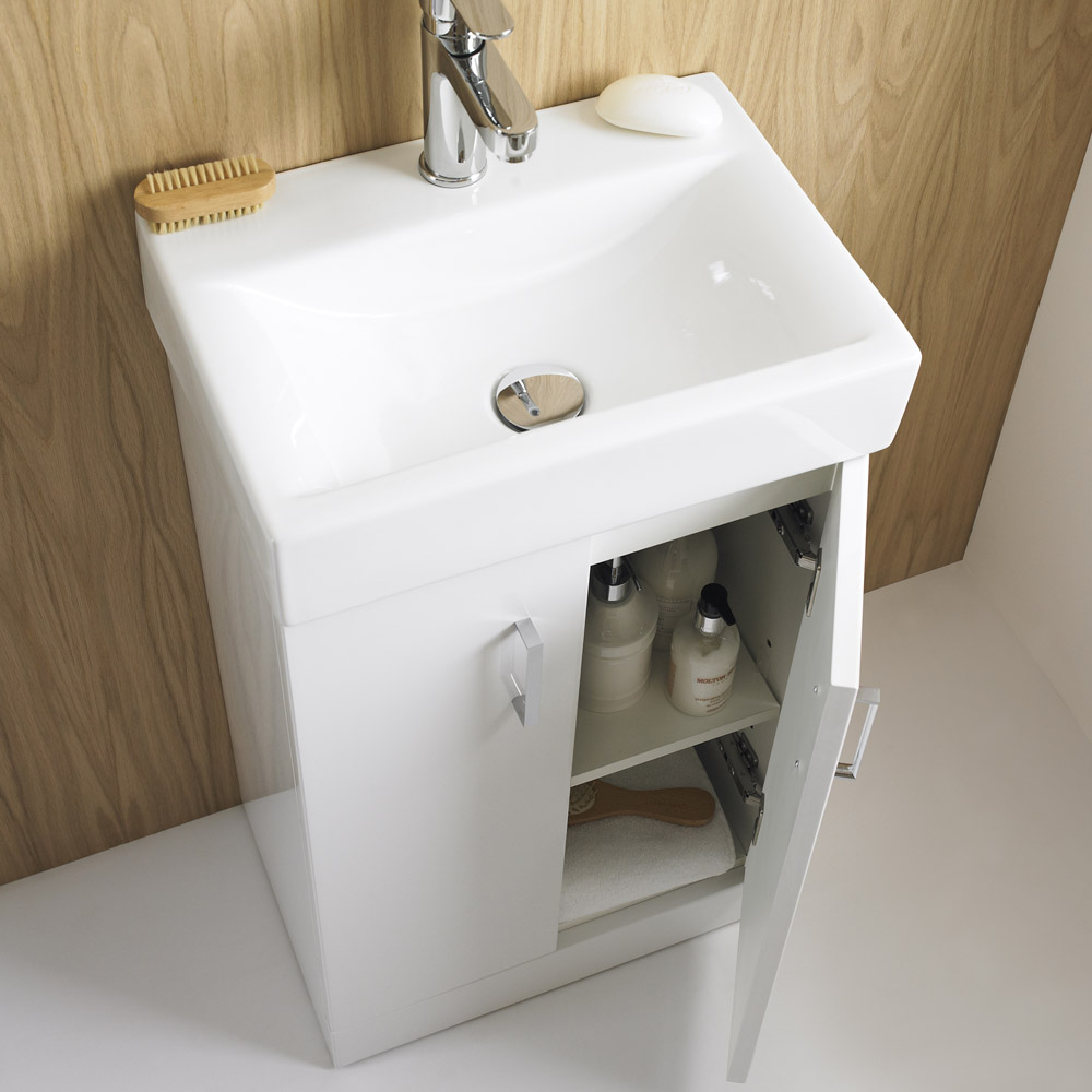Nova high gloss white floor standing basin unit w450 x for Vanity sink units bathroom sale