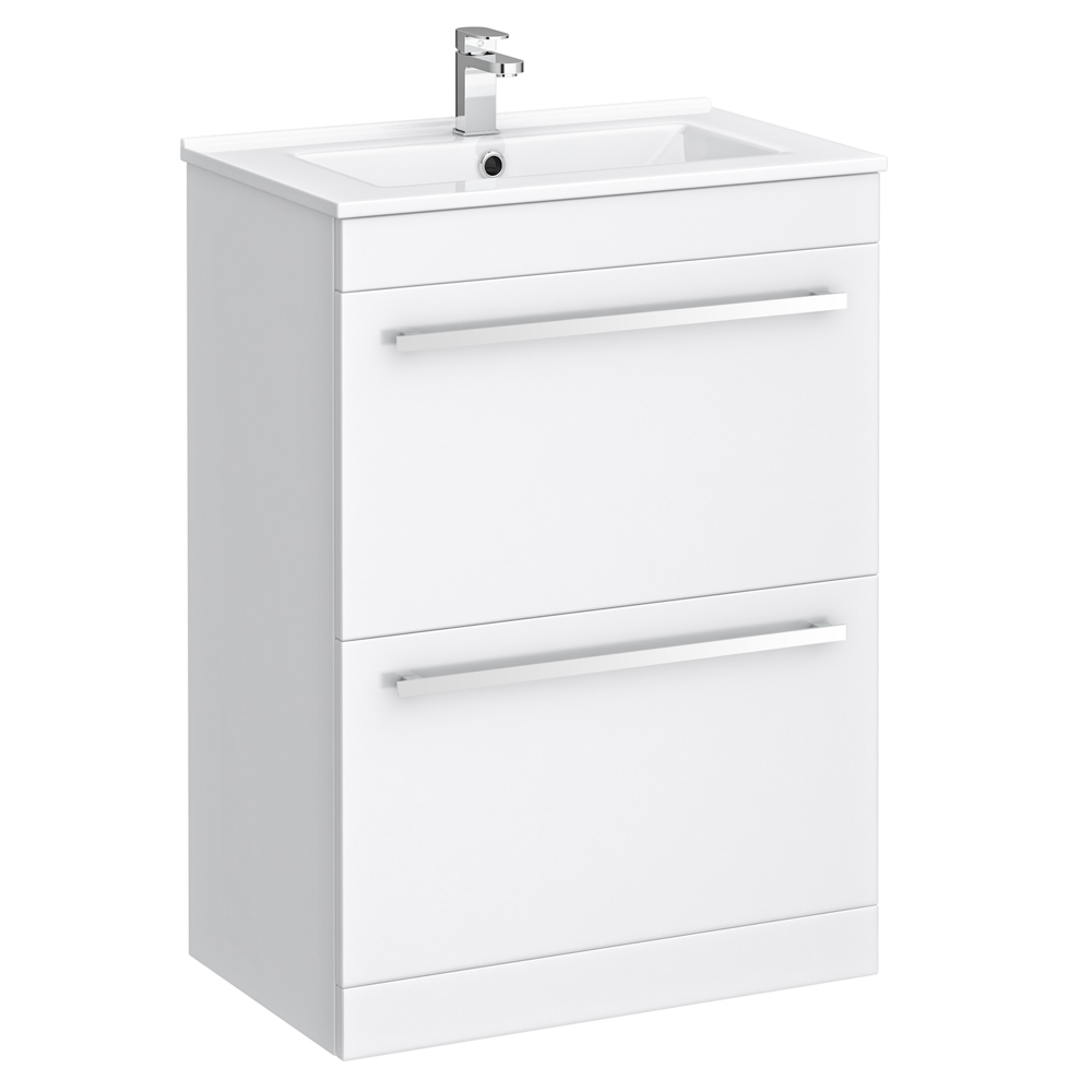 Nova Vanity Sink With Cabinet - 600mm Modern High Gloss White Large Image