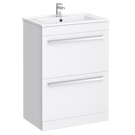 Nova Vanity Sink With Cabinet - 600mm Modern High Gloss White