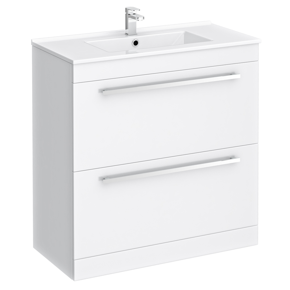 Nova Vanity Sink With Cabinet - 800mm Modern High Gloss White Large Image