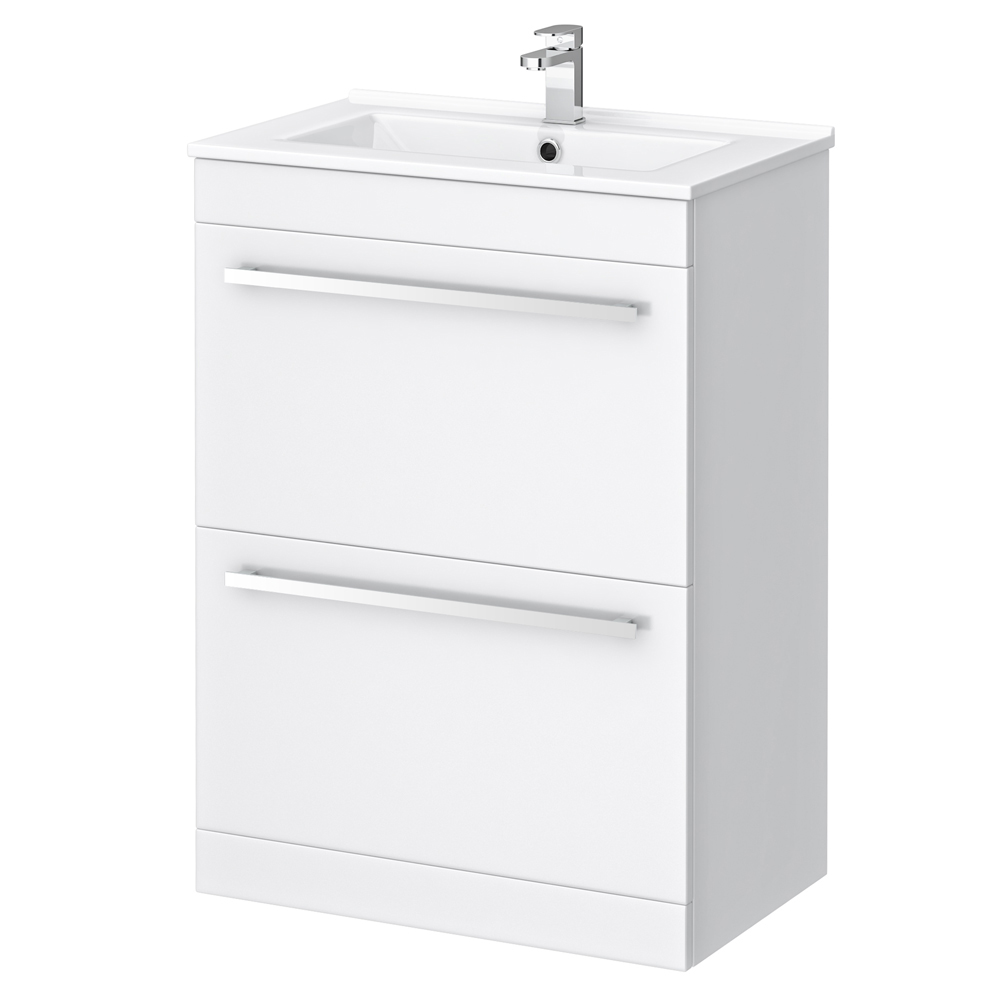 Nova High Gloss White Vanity Bathroom Suite - W1100 x D400/200mm profile large image view 3