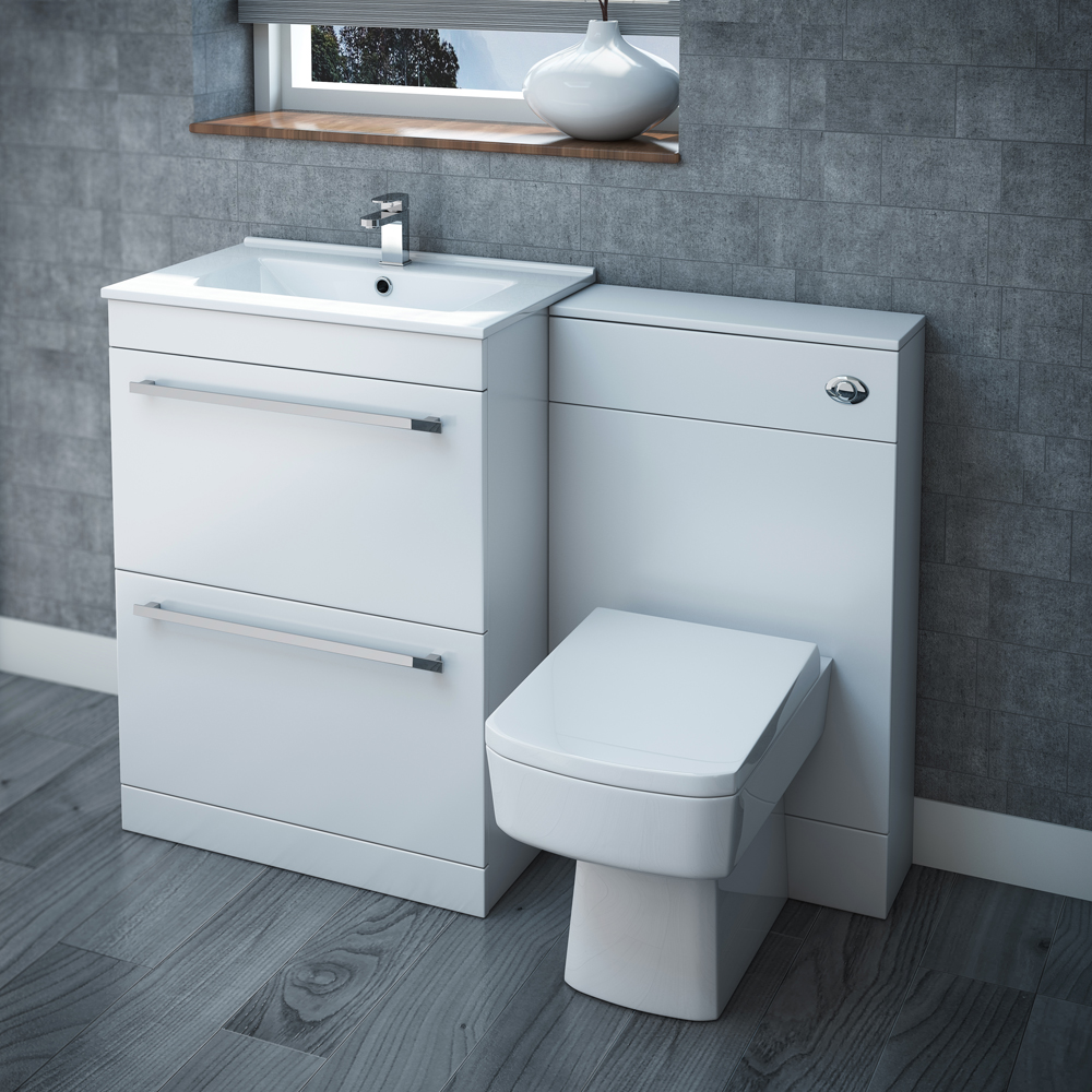 Nova High Gloss White Vanity Bathroom Suite - W1100 x D400/200mm profile large image view 1